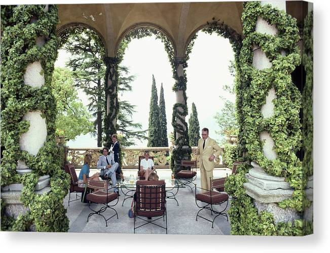 1980-1989 Canvas Print featuring the photograph Villa Del Balbianello by Slim Aarons