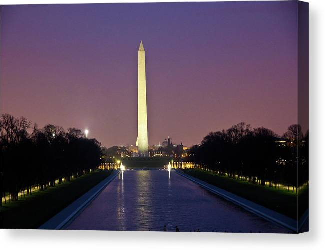 Washington Canvas Print featuring the photograph Washington Monument at Sunset by Fred DeSousa