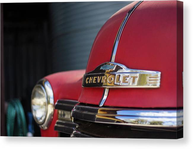 Red Canvas Print featuring the photograph Work Truck by Fred DeSousa