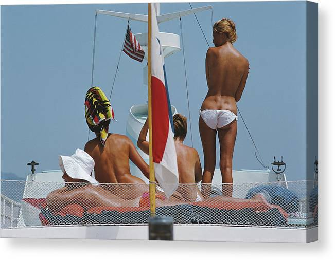 People Canvas Print featuring the photograph Yacht Holiday by Slim Aarons