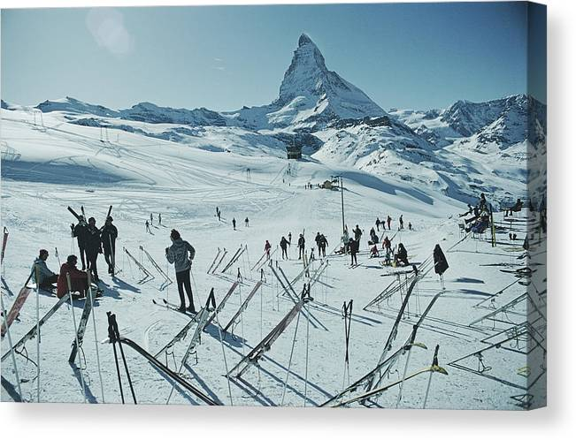 Shadow Canvas Print featuring the photograph Zermatt Skiing by Slim Aarons