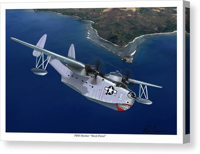 Aviation Art Canvas Print featuring the painting PBM Mariner by Mark Karvon