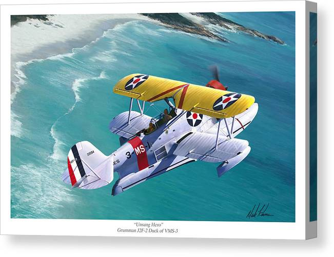 Aviation Canvas Print featuring the painting Unsung Hero - Grumman J2F Duck by Mark Karvon