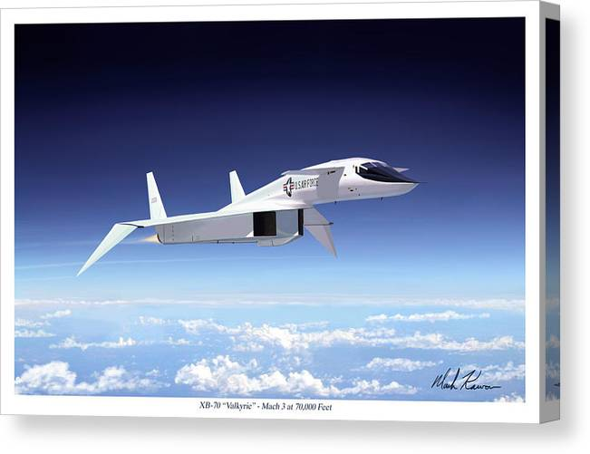 Aviation Canvas Print featuring the painting Valkyrie - Mach 3 At 70000 Feet by Mark Karvon