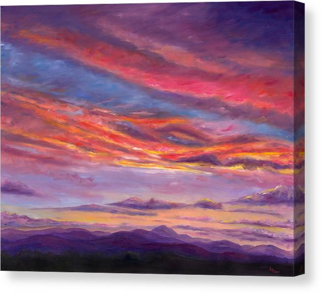 Landscape Canvas Print featuring the painting Pisgah Sunset by Jeff Pittman