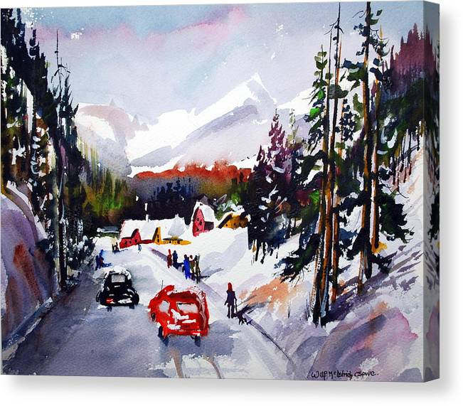 Snow Skiing Winter Sports Snow On Mountains Alpine Canvas Print featuring the painting Powder and Sunshine by Wilfred McOstrich