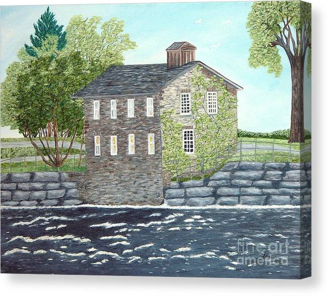Historic Mills Painting Canvas Print featuring the painting Meyers Mill by Peggy Holcroft