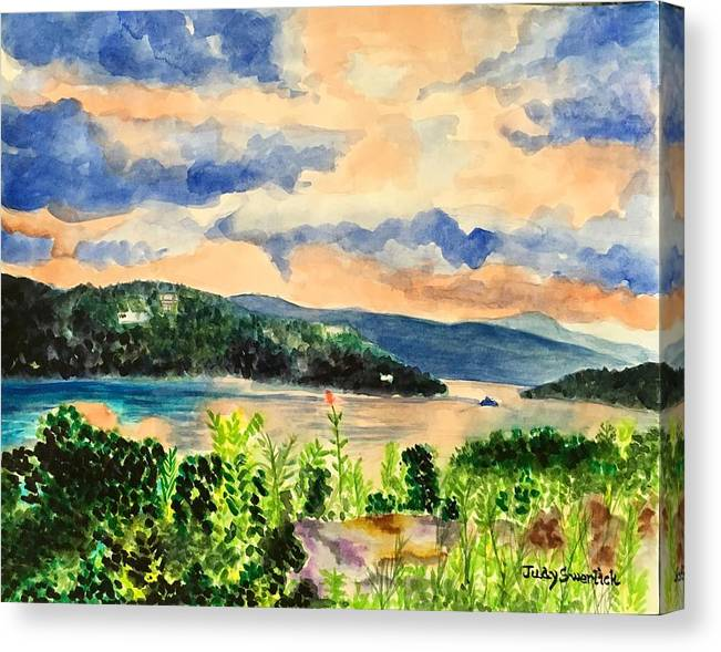 Sunset Canvas Print featuring the painting Quiet Waters by Judy Swerlick