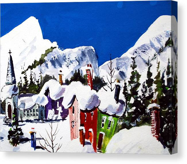 Quebec Snow Skiing Towns Winter Snow Fun Image Canvas Print featuring the painting Ste.Adele Quebec by Wilfred McOstrich
