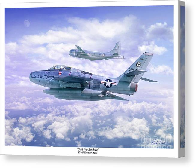 Aviation Canvas Print featuring the painting Cold War Sentinels by Mark Karvon
