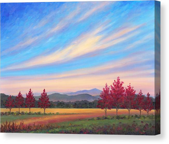 Canvas Print featuring the painting Crimson Colors by Jeff Pittman