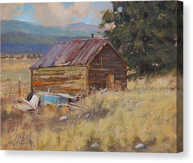 Landscape Canvas Print featuring the painting Cripple Creek Cabin by Greg Clibon