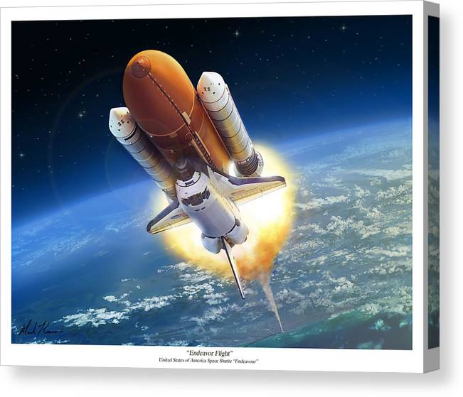 Space Shuttle Canvas Print featuring the painting Endeavour Flight by Mark Karvon