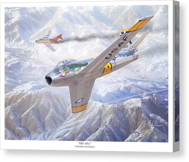 Aviation Art Canvas Print featuring the painting Mig Alley by Mark Karvon