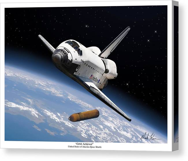 Space Shuttle Canvas Print featuring the painting Orbit Achieved by Mark Karvon