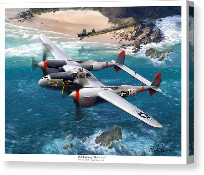 Airplanes Canvas Print featuring the painting P-38 Lightning Battle Axe by Mark Karvon