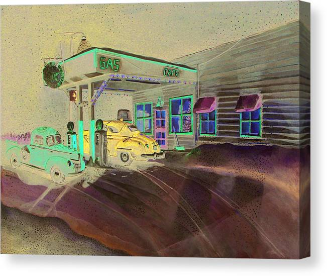 Rick Huotari Canvas Print featuring the painting Times Past Gas Station by Rick Huotari