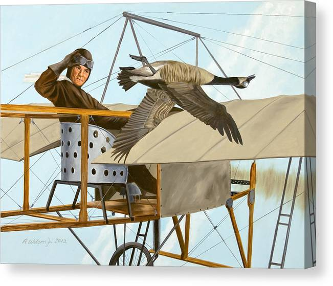 Aviator Canvas Print featuring the painting The Fledgling by Karen Wilson