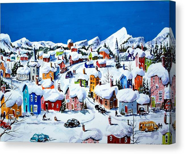 Towns. Villages Canvas Print featuring the painting Apres Niege Ste-Adele -Quebec by Wilfred McOstrich