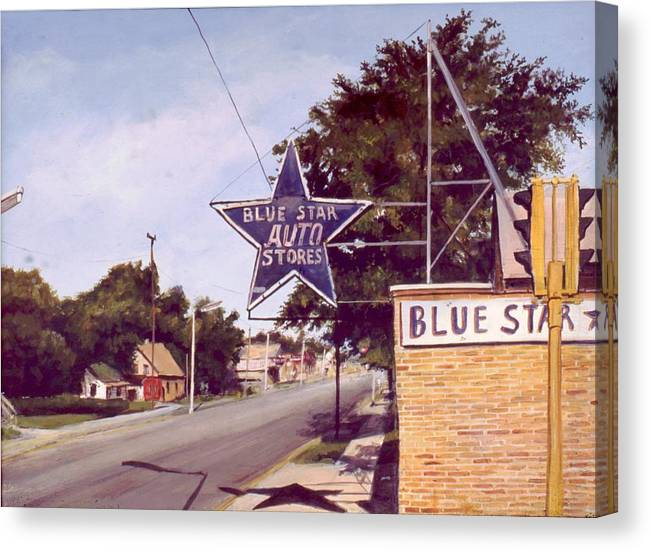 Landscape Harvey Illinois Canvas Print featuring the painting Blue Star Auto by William Brody