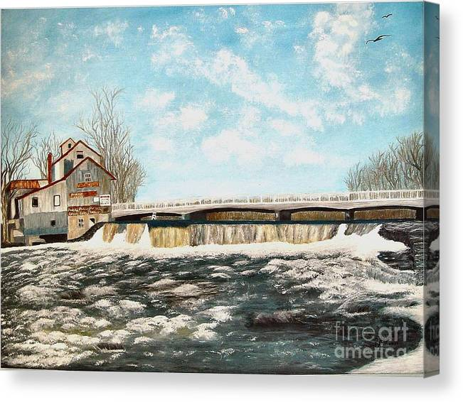 Mills Paintings Canvas Print featuring the painting Chisholms Mill by Peggy Holcroft