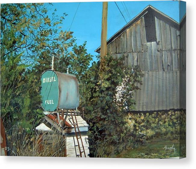 Barn Canvas Print featuring the painting Diesel Fuel by William Brody