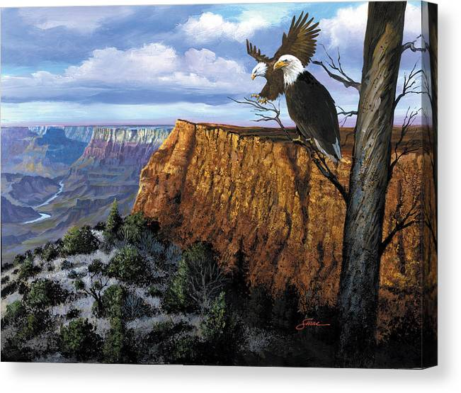 Grand Canyon Canvas Print featuring the painting Grand Canyon Lookout by Harold Shull