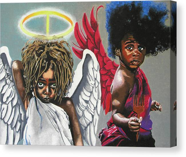 Black Art Canvas Print featuring the painting Hells Little Angels by Andre Ajibade