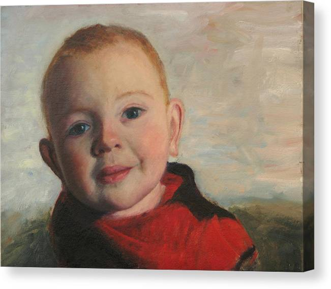 Portraits Canvas Print featuring the painting Little boy in red by Chris Neil Smith