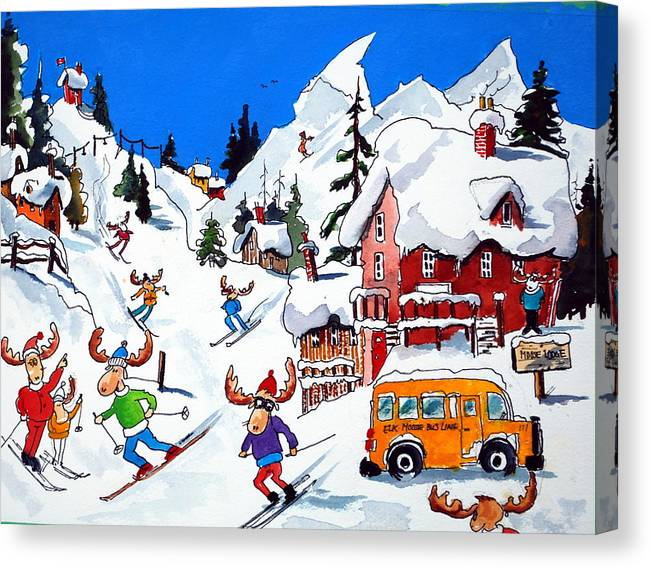 Whimsey Canvas Print featuring the painting Moose Going Downhill by Wilfred McOstrich