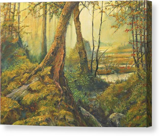 Landscape Canvas Print featuring the painting Primordial Exploration by Craig shanti Mackinnon