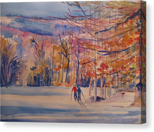 Snow Canvas Print featuring the painting skiing in Anthony Wayne by Joyce Kanyuk
