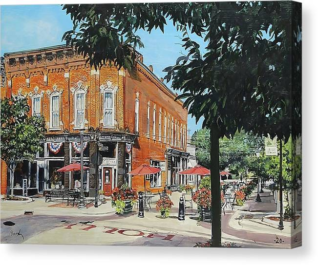 Holly Michigan Canvas Print featuring the painting Coffee On The Corner by William Brody