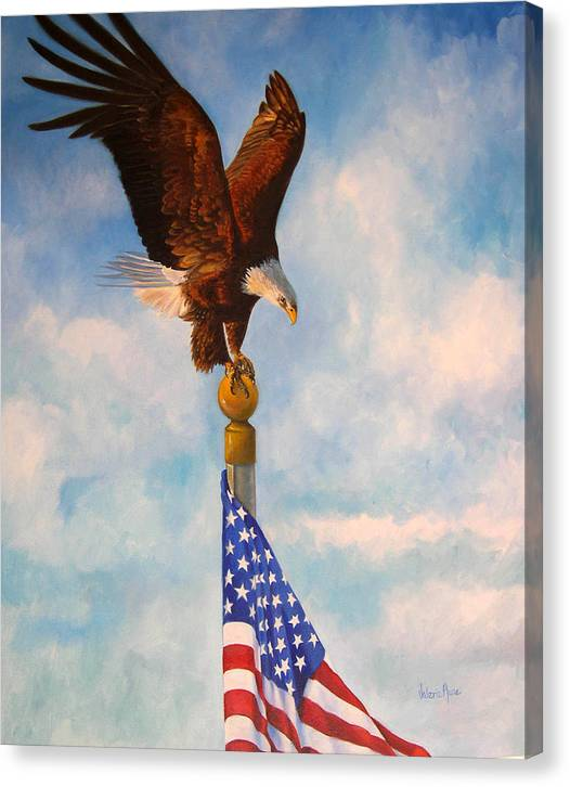 Eagle Canvas Print featuring the painting Oh Beautiful by Valerie Aune