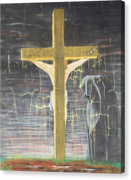 Cross Canvas Print featuring the painting Approaching Death by Norman F Jackson