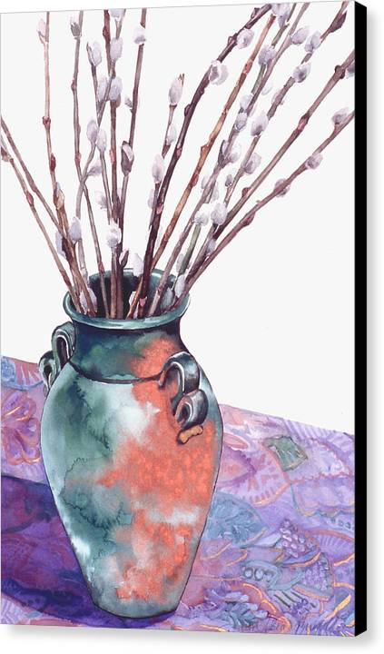 Watercolor Canvas Print featuring the painting Pussy Willows Bouquet by Caron Sloan Zuger