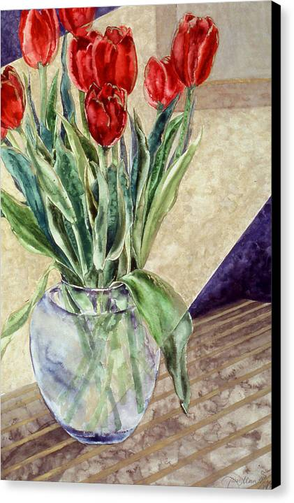 Watercolor Canvas Print featuring the painting Tulip Bouquet - 11 by Caron Sloan Zuger