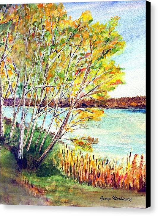 Lake And Trees Landscape Canvas Print featuring the print Lake Geneva by George Markiewicz