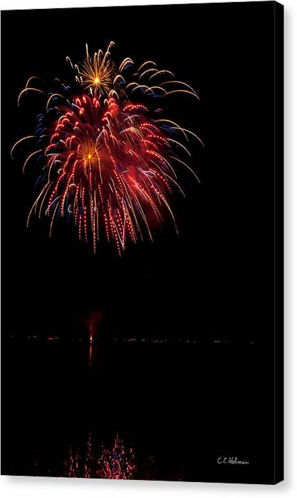 Fireworks Canvas Print featuring the photograph Fireworks II by Christopher Holmes