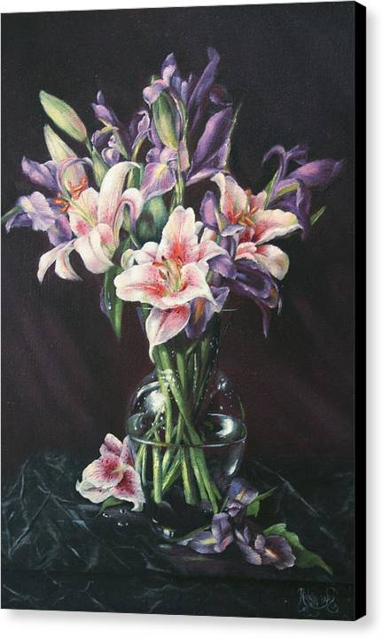 Floral Still Life Canvas Print featuring the painting Laurette' Lillies by Michelle Kerr
