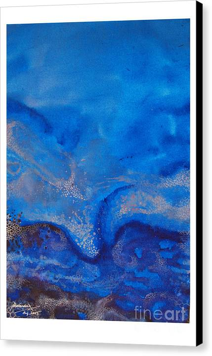 Abstract Canvas Print featuring the painting Seascape-1 by Padmakar Kappagantula