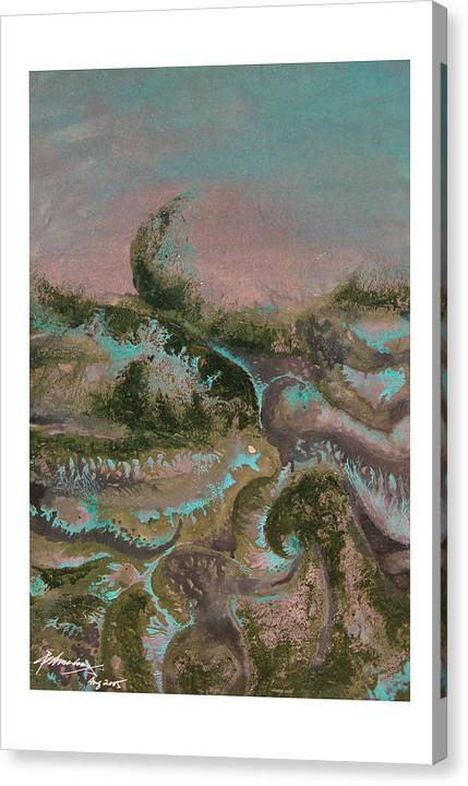 Abstract Canvas Print featuring the painting Seascape-2 by Padmakar Kappagantula