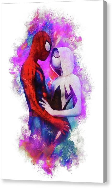 Spider-Gwen and Spider-Man Embrace by Christopher Lane