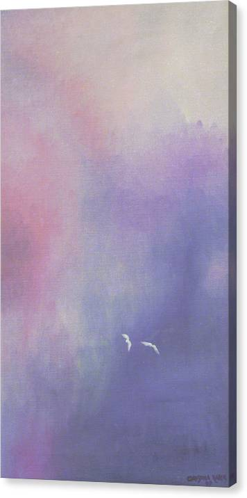 Sky Canvas Print featuring the painting Two Birds Flying In Ravine. by Ingela Christina Rahm