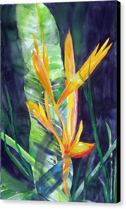 Tropical Plant Canvas Print featuring the painting Golden Torch by Maritza Bermudez