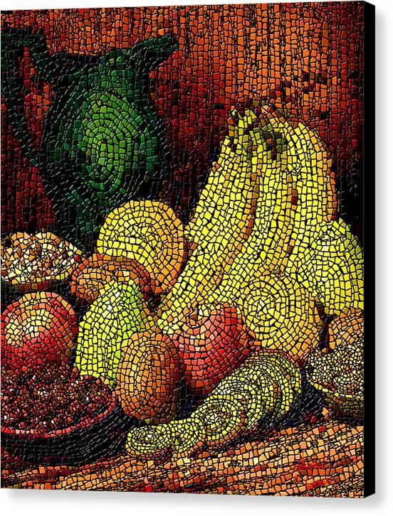 Fruit Canvas Print featuring the digital art Fresh Fruit Tiled by Stephen Lucas
