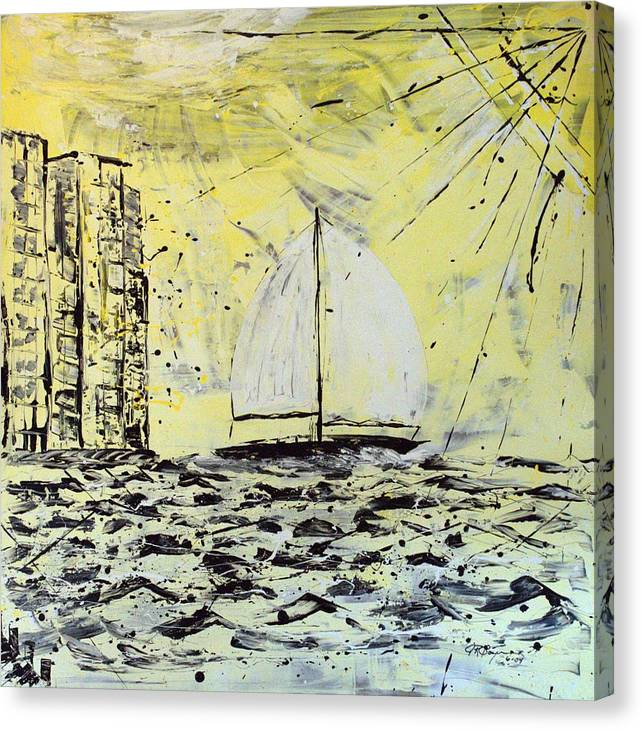 Abstract Canvas Print featuring the painting Sail And Sunrays by J R Seymour