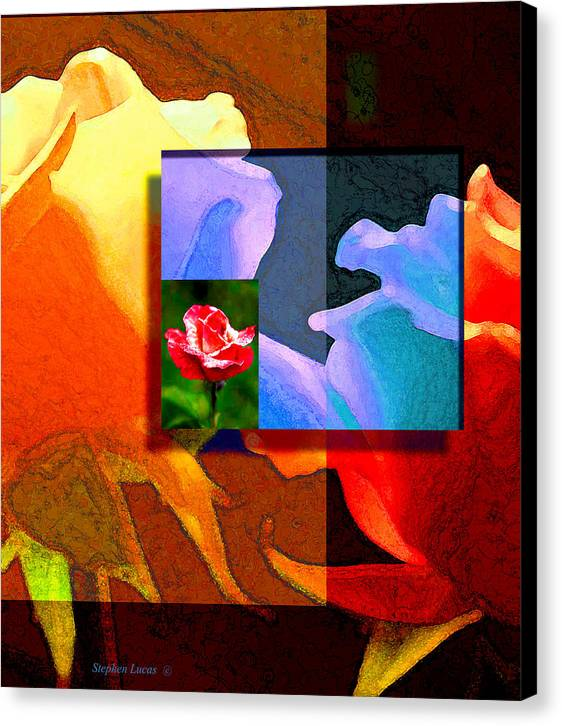 Modern Canvas Print featuring the digital art Backlit Roses by Stephen Lucas