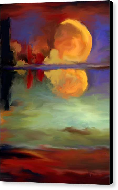 Pond Canvas Print featuring the painting Beyond Sunset Pond by Maria Pureza Escano