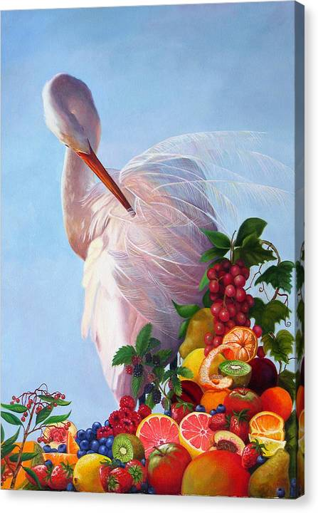 Egret Canvas Print featuring the painting Wild And Sweet 7 by Valerie Aune